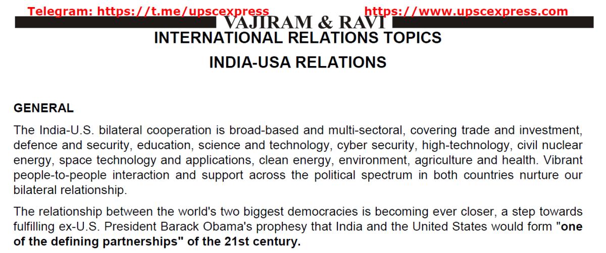 India and USA relation by Vajiram andRavi