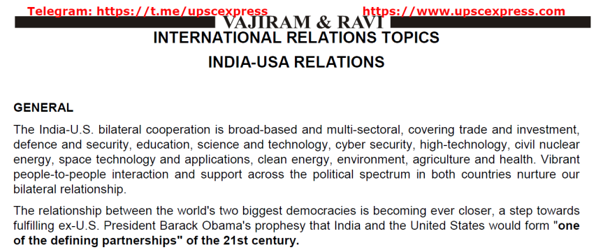 India and USA relation by Vajiram and Ravi
